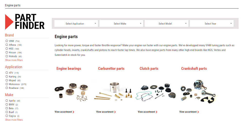 VHM part finder in de webshop